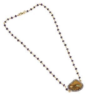 Amethyst with Multi Sapphire CZ Charm Necklace