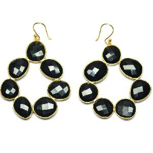 Black Spinel Fancy Shape Gold Plated over 925 Sterling Silver Bezel Dangle AND Drop Earring