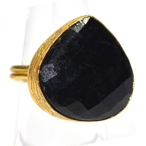 Black Spinel Pear Shape Gold Plated Gemstone Bezel Ring