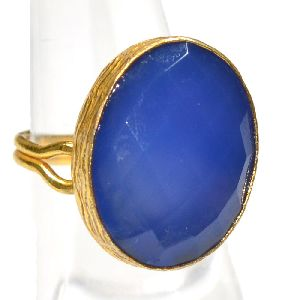 Blue Chalcedony Oval Shape Gold Plated Bezel Gemstone Ring