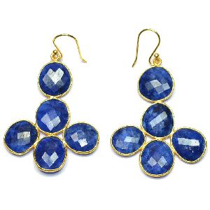 Blue Sapphire Fancy Shape Gold Plated over 925 Sterling Silver Bezel Dangle AND Drop Earring