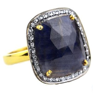 Blue Sapphire With CZ Fancy Shape Gold Plated over 925 Sterling Silver Ring