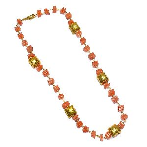 Carnelian Chips Wire Wrap Necklace