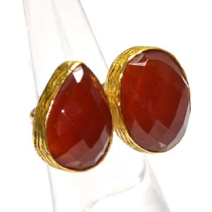 Carnelian Pear and Round Shape Gold Plated Bezel Gemstone Ring