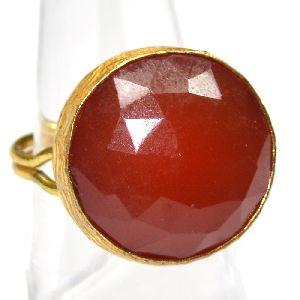 Carnelian Round Shape Gold Plated Gemstone Bezel Ring