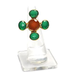 Carnelian With Green Onyx Round and Oval Shape Gold Plated Bezel Gemstone Ring