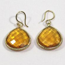 Citrine Hydro Heart Shape 925 Sterling Silver Earring