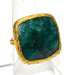 Dyed Emerald Cushion Shape Gold Plated Bezel Ring