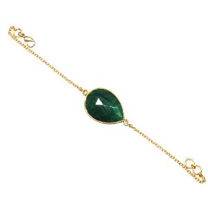 Dyed Emerald Pear Shape Bezel Bracelet