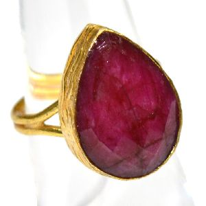 Dyed Ruby Pear Shape Gold Plated Gemstone Bezel Ring
