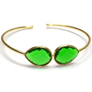 Emerald Hydro Pear Shape Bezel Gemstone Bangle