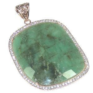 Emerald With CZ Fancy Shape Rose Gold Sterling Silver Pendant