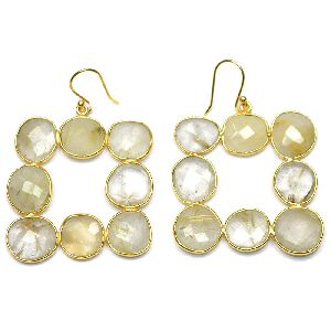 Golden Rutile Fancy Shape Gold Plated over 925 Sterling Silver Bezel Dangle AND Drop Earring