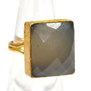 Gray Chalcedony Cushion Shape Gold Plated Bezel Gemstone Ring