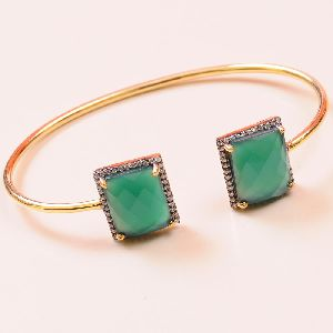 Green Onyx 925 Sterling Silver Bangle