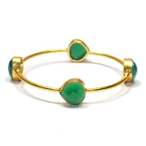 Green Onyx Pear Shape Bezel Gemstone Bangle