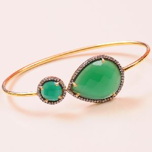 Green Onyx Sterling Silver Bangle