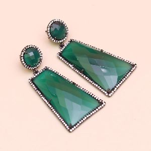 Green Onyx With 925 Sterling Silver Dangle AND Drop Earring