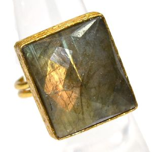 Labradorite Cushion Shape Gold Plated Bezel Gemstone Ring