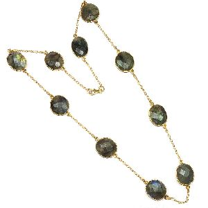 Labradorite Fancy Shape Bezel Necklace