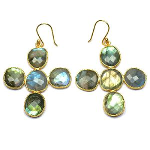 Labradorite Fancy Shape Gold Plated over 925 Sterling Silver Bezel Dangle AND Drop Earring