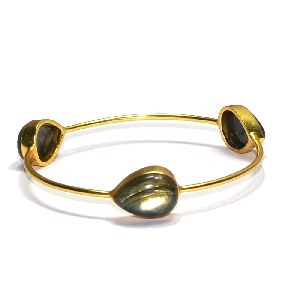 Labradorite Pear Shape Bezel Gemstone Bangle