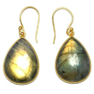 Labradorite Pear Shape Gold Plated Bezel Dangle Drop Earring