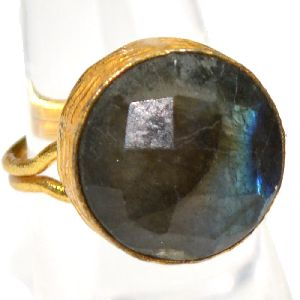 Labradorite Round Shape Gold Plated Bezel Gemstone Ring