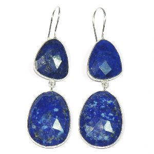 Lapis Lazuli Fancy Shape 925 Sterling Silver Bezel Dangle AND Drop Earring