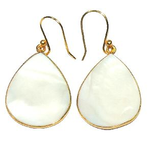 Mother of Pearl Gold Plated 925 Sterling Silver Bezel Dangle Earring