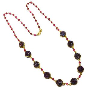 Multi Gemstone Bezel Pendant Necklace