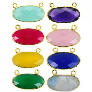Multi Gemstones Oval Shape Sterling Silver Bezel Gemstone Connector