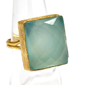 Peru Chalcedony Cushion Shape Gold Plated Bezel Gemstone Ring