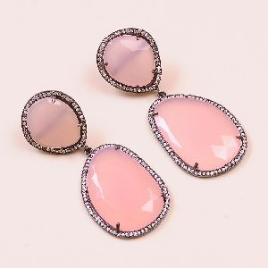 Pink Chalcedony With Sterling Silver Dangle AND Drop Earring