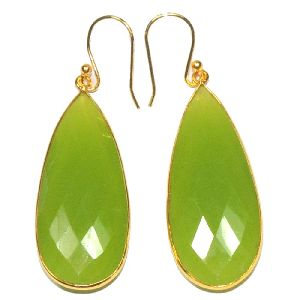 Prehnite Pear Shape Gold Plated Bezel Dangle Earring