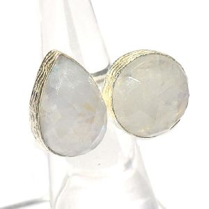 Rainbow Moonstone Pear and 16Round Shape Silver Plated Bezel Gemstone Ring