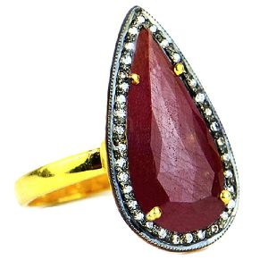 Red Sapphire With CZ Pear Shape Gold Plated over 925 Sterling Silver Ring