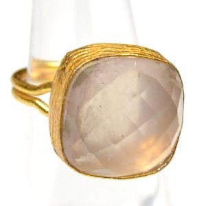 Rose Quartz Cushion Shape Gold Plated Bezel Gemstone Ring