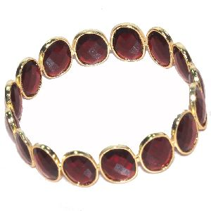 Rubellite Hydro Fancy Shape Plated Bezel Gemstone Bangle