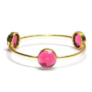 Rubellite Hydro Round Shape Bezel Gemstone Bangle