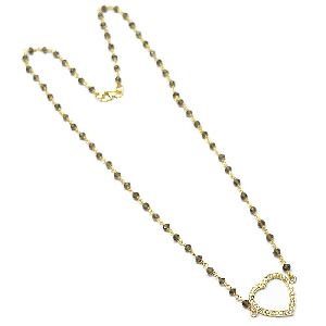 Smokey Heart Shape CZ Charm Necklace