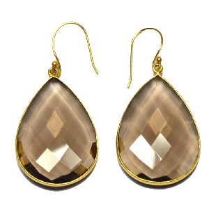 Smokey Pear Shape Gold Plated over 925 Sterling Silver Bezel Dangle AND Drop Earring