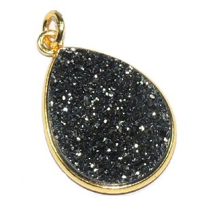 Titanium Black Druzy Pear Shape