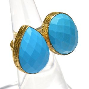 Turquoise Pear and Round Shape Gold Plated Bezel Gemstone Ring
