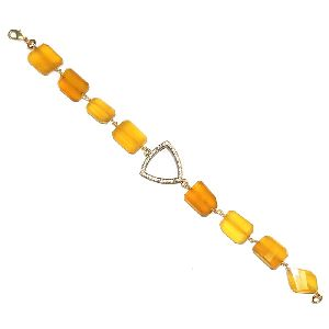 Yellow Chalcedony Wire Wrap Bracelet