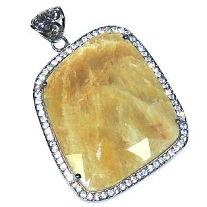 Yellow Sapphire With Sterling Silver Pendant