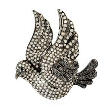 18kt Gold 925 Sterling Silver Single Cut Diamond Bird Brooch