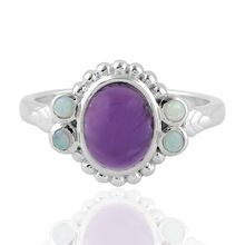 Opal Ethiopian Silver 925 Sterling Amethyst Natural Gemstone Ring