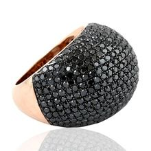 Rose Gold Silver 925 Sterling Pure Black Diamond ring