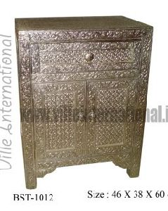 Embossed white metal bedside cabinet